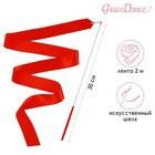 Лента гимнастическая 2 м с палочкой, цвет красный