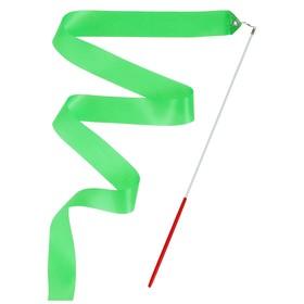 Лента гимнастическая с палочкой, 4 м, цвет зеленый Ош