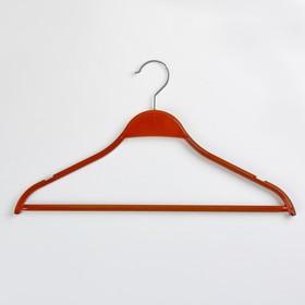 Вешалка-плечики для одежды с перекладиной, размер 44-46, цвет ореховый