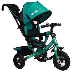 """Велосипед трёхколёсный Micio Classic Air 2019, надувные колёса 10""""/8, цвет бирюзовый"""