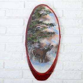 Панно на спиле 'Зима.Лось', 52-56 см, каменная крошка, вертикальное Ош
