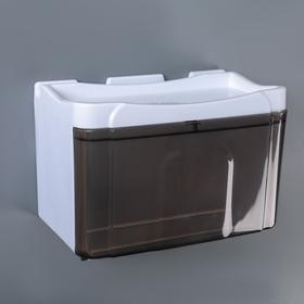 Диспенсер бумажных полотенец в листах и рулонах, 22×13×14 см, пластик, цвет бело-коричневый Ош