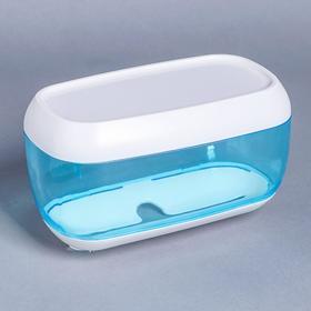 Диспенсер бумажных полотенец в листах, 23×13×14 см, пластик, цвет голубой Ош