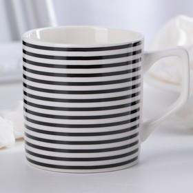 Кружка Доляна «Полоса», 200 мл, цвет чёрно-белый