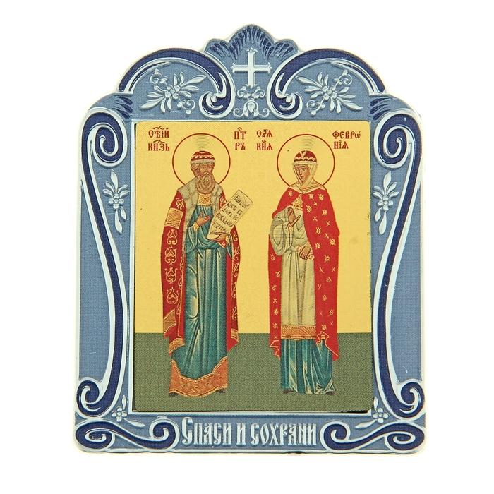 """Икона Петра и Февронии в киоте """"Спаси и сохрани"""" на подставке"""