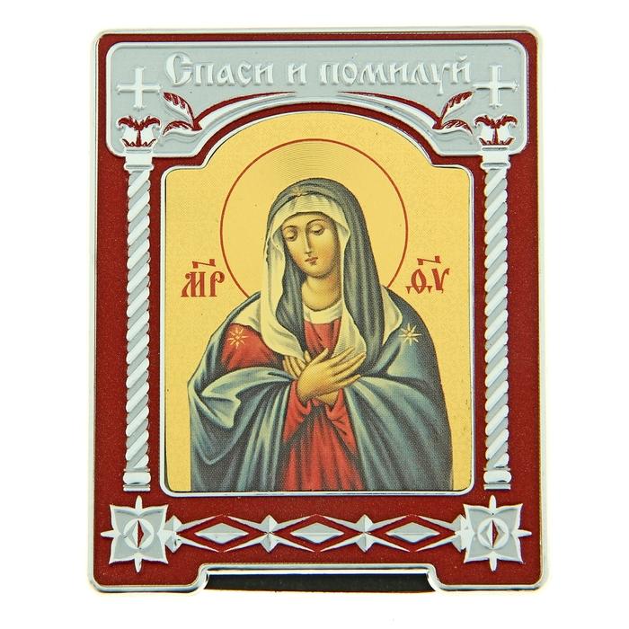 """Икона Богородицы в киоте """"Спаси и помилуй"""" на подставке"""