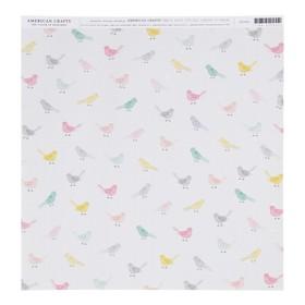 Бумага для скрапбукинга Crate Paper - Коллекция «Bloom» - лист «Little bird»