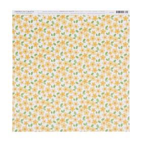 Бумага для скрапбукинга American Crafts - лист «Yellow floral»