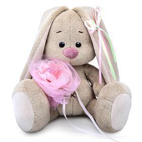 Мягкая игрушка «Зайка Ми» c розовым цветком, 15 см