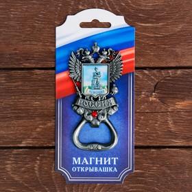 Магнит-открывашка в форме герба «Кемерово», под черненое серебро Ош