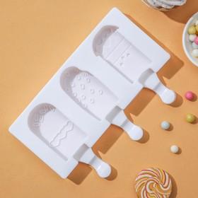 Форма для леденцов и мороженого «Эскимо со сладостями», 3 ячейки (7×4,2 см), 19,5×17,7 см, цвет МИКС Ош