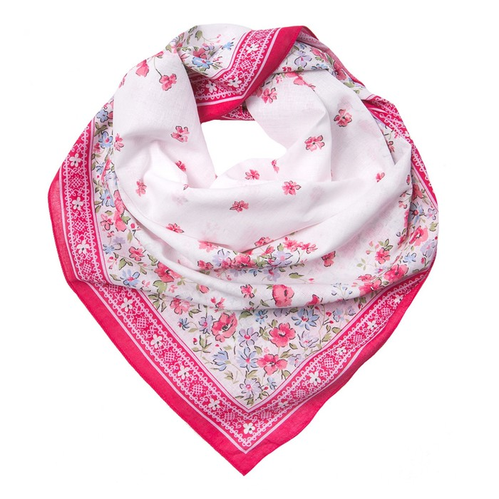 Платок женский KC1730_3 цвет розовый, р-р 80x80