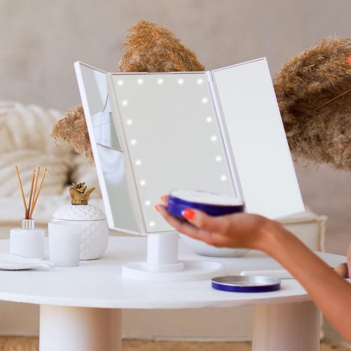 Зеркало LuazON KZ-07, подсветка, 30×18×7 см, 22 диода, 4хААА, (не в комплекте), белое