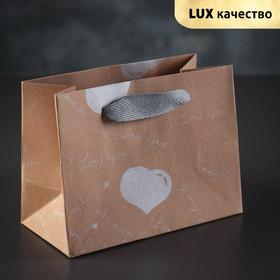 Пакет крафт 'Серебряные сердца', 16 х 8 х 12 см Ош