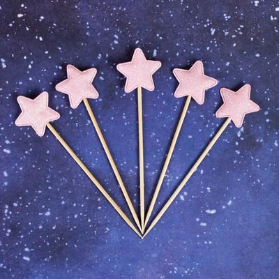 Топпер «Звезда», набор 5 шт., цвет розовый - Фото 1