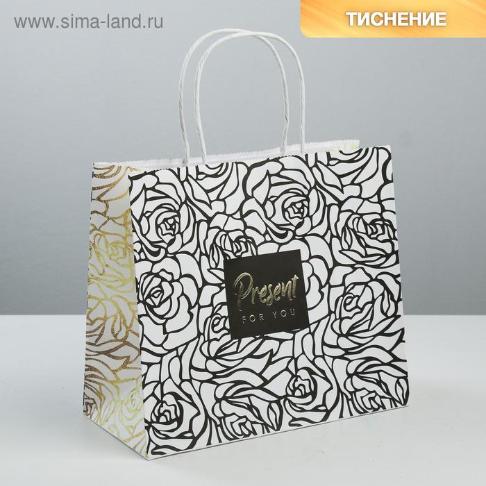 Пакет подарочный крафтовый Present for you, 25 × 22 × 12 см