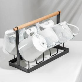 Набор кружек «Эстет.Мрамор», 390 мл, 6 предметов, на металлической подставке