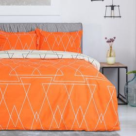 Постельное бельё 1,5 сп. Этель Люкс «Апельсин» 150×210 см, 150×220 см, 50×70 + 5 см - 2 шт, сатин, 100% хл, 130 г/м²
