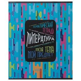 Тетрадь предметная «Моя тема», 40 листов в линейку «Литература», мелованный картон, ВД-лак, со справочными материалами