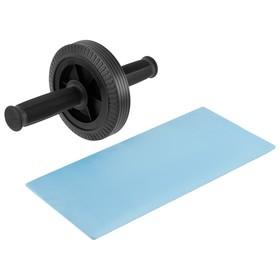Ролик для пресса, 1 колесо 27 х 14 см, с ковриком, цвет чёрный Ош