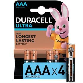Батарейка алкалиновая Duracell Ultra Power, AAA, LR03-4BL, 1.5В, 4 шт.