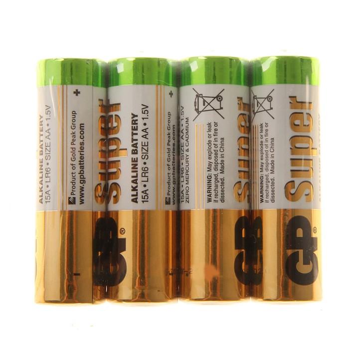 Батарейка алкалиновая GP Super, AA, LR6-4S, 1.5В, спайка, 4 шт.
