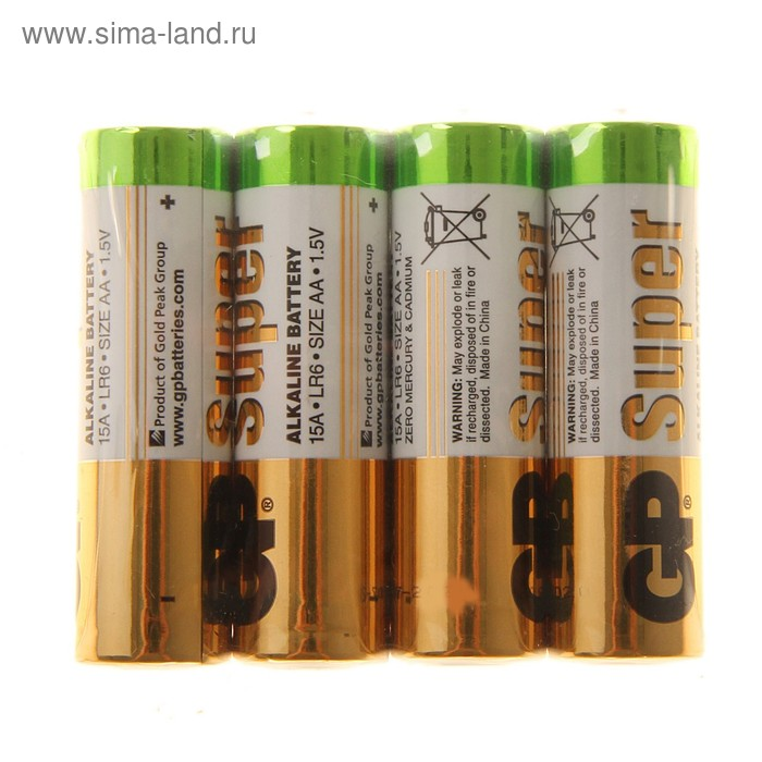 Батарейка алкалиновая GP Super, AA, LR6-4S, 1.5В, спайка, 4 шт.