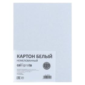 Картон белый А5, 6 листов, 220 г/м2 Calligrata, не мелованный, ЭКОНОМ Ош