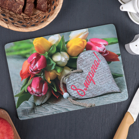 Доска разделочная Виктория «8 марта. Тюльпаны», 25×16,5 см