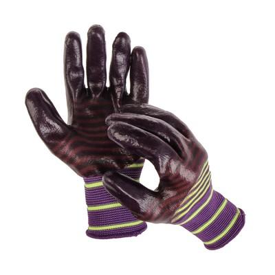 Перчатки нейлоновые, с нитриловым полуобливом, размер 10, коричневые