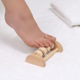 Массажёр «Ножное счастье», деревянный, 4 колеса с шипами, цвет МИКС