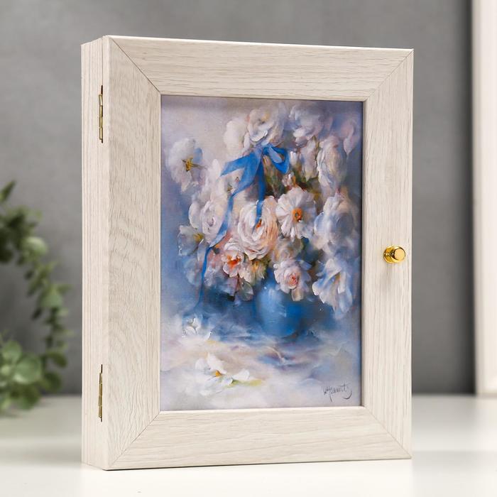 """Ключница """"Белоснежные цветы"""" Мини Молочный дуб 18х23 см"""