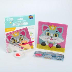 Алмазная мозаика для детей «Кошечка», 15 х 15 см + емкость, стерж, клеев подушечка. Набор для творчества