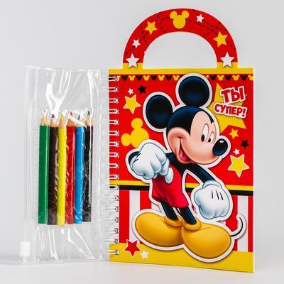 Блокнот-сумочка с раскраской, Микки Маус, 45 листов, А6