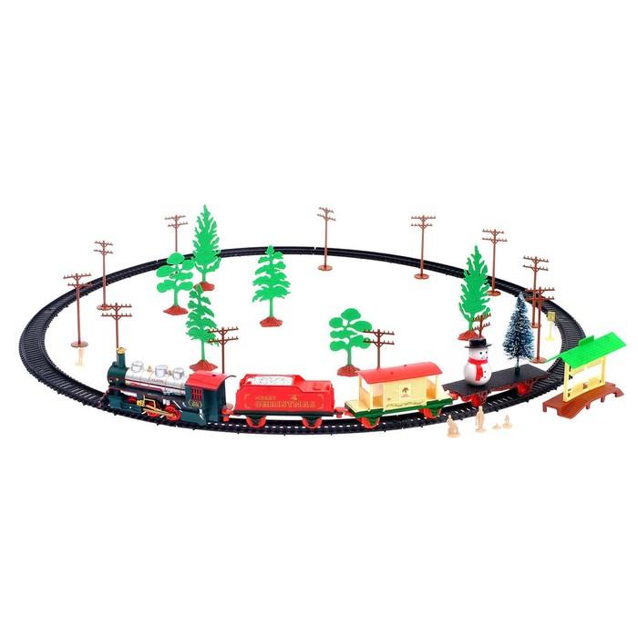Железная дорога «С Новым Годом», работает от батареек, в пакете