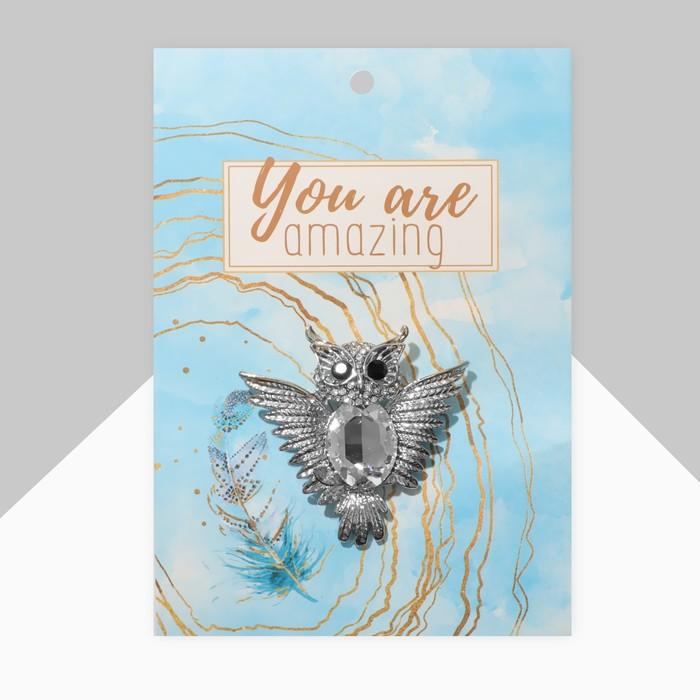 """Брошь """"Сова"""" с распахнутыми крыльями, цвет белый в серебре ..."""