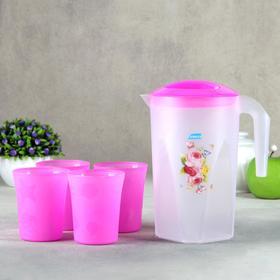 Набор питьевой «Цветы», 5 предметов: кувшин 1,3 л, стакан 4 шт 240 мл, цвет МИКС Ош