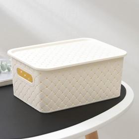 Корзина для хранения с крышкой Виолет «Береста», 3 л, 23,5×17,3×10,5 см, цвет слоновая кость