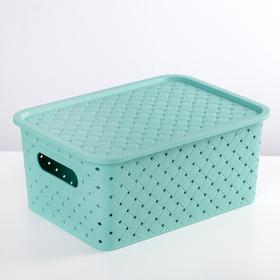 Корзина для хранения с крышкой Виолет «Береста», 3 л, 23,5×17,3×10,5 см, цвет шалфей