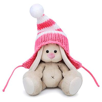 Мягкая игрушка «Зайка Ми» в полосатой розовой шапке, 15 см - Фото 1