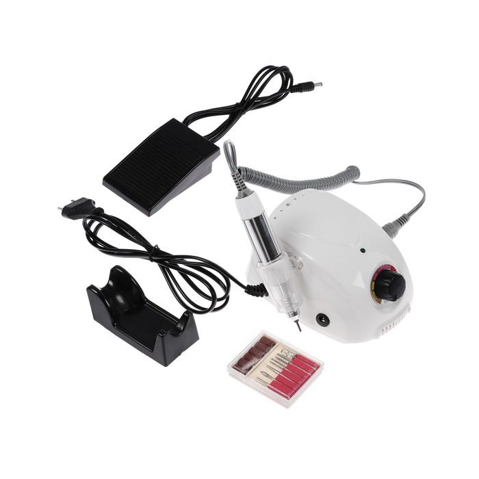 Аппарат для маникюра LuazON LMH-04, 6 насадок, до 25000 об/мин, педаль, белый