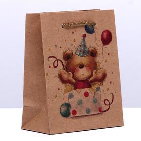 Пакет крафт 'С днём рождения!', 11 х 14 х 5 см Ош