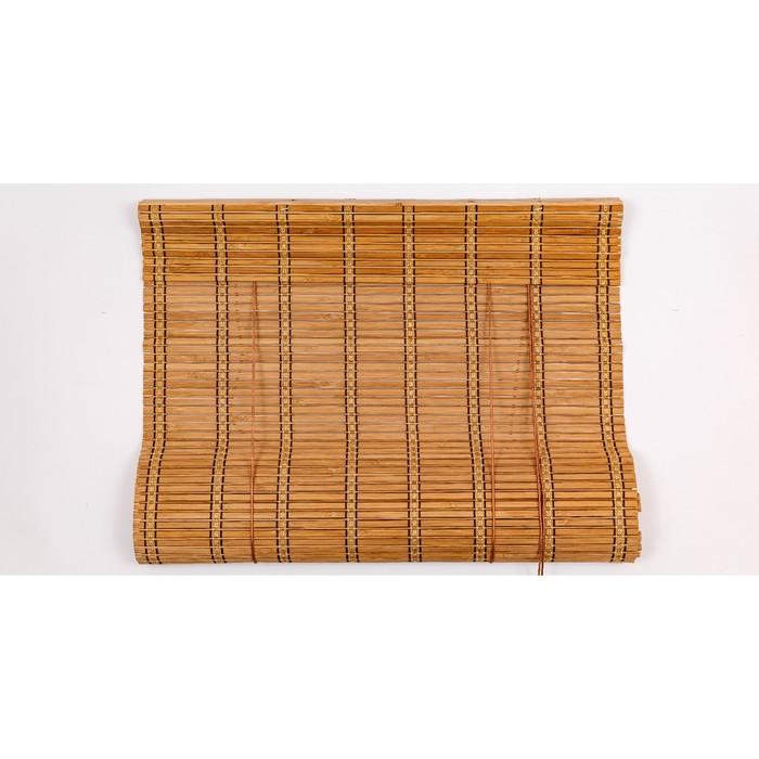 Бамбуковая рулонная штора, 90×220 см, цвет коричневый