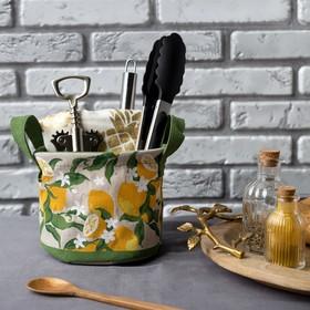 """Текстильная корзинка """"Лимоны"""" 14х12см"""