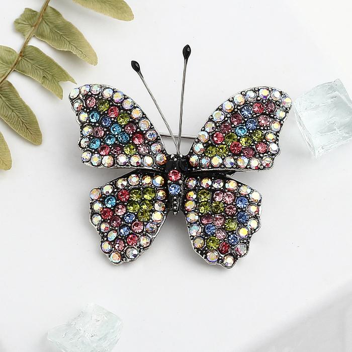 """Брошь """"Бабочка"""" с усиками, цветная в черненом серебре"""