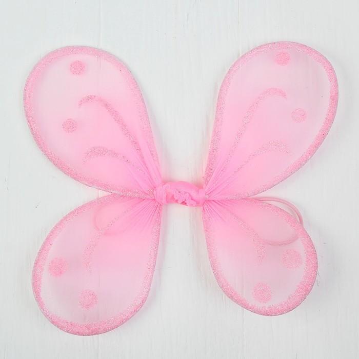 Кукольная миниатюра. Крылья на резинке Блёстки, цвет розовый