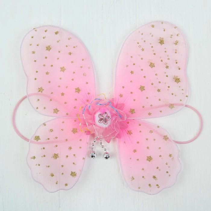 Кукольная миниатюра. Крылья на резинке Звездочки, цвет розовый