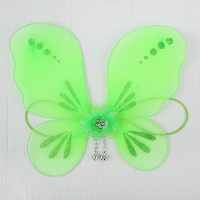 Кукольная миниатюра. Крылья на резинке Цветок, цвет зелёный