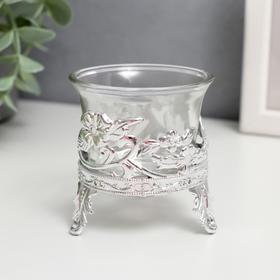 """Подсвечник стекло, пластик на 1 свечу """"Цветочек"""" серебро 6,5х6х6 см"""