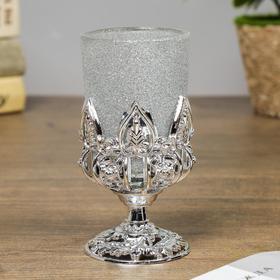 """Подсвечник стекло, пластик на 1 свечу """"Изыск"""" бокал на ножке серебро 11х5х5 см"""
